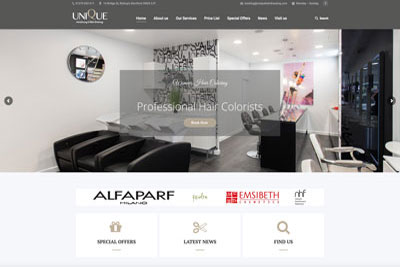 hairdressing salon websites